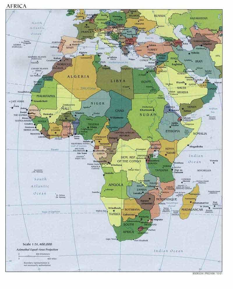 Где находится африка карта мира